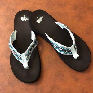 Blue North Face Flip Flops